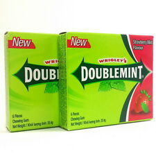 2 NEW WRIGLEY'S CHEWING GUM DOUBLEMINT STRAWBERRY MINT FLAVOUR
