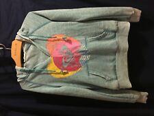 Women's Teal Rainbow Heart Hoodie Sweatshirt Size S