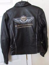 Harley Davidson Women's 100 Year Anniversary Black Leather Jacket XS Mint