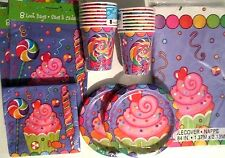 CANDY PARTY -  Birthday Party Supply Set Pack Kit for 16 w/ Loot Bags