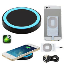 Blue/Black Qi Wireless Charger Charging Pad+Receiver For iPhone 6 6 plus 5 5S UK