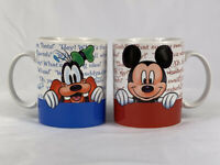 Lot of 2 Minnie & Mickey Goofy & Donald Quotes Coffee Mugs Tea Cup Disney Store