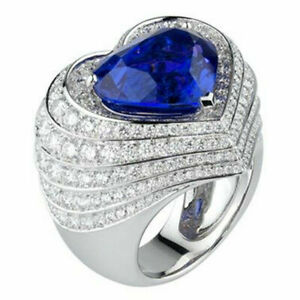 Fashion 925 Silver Women Wedding Heart Ring Blue Sapphire Love Jewelry Size 8