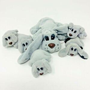 VTG 1995 POUND PUPPIES Plush Lot of 6 Gray Dogs 1 Large 5 Mini