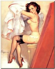 "Vintage GIL ELVGREN Pinup Girl CANVAS PRINT Caught Dressing 16X12"""