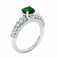 Natural 2.00 Ct Diamond Natural Emerald Ring 14K White Gold Real Gemstone Rings