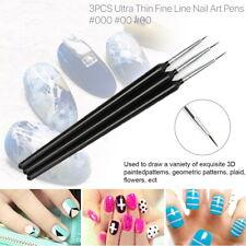 3 Pcs Set Tiny Nail Art Brush Ultra Thin Liner Pens UV Gel Painting Line Pen UK