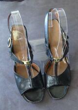 Original 1960s Vintage Connie black leather chunk heel opentoe buckle sandal 7.5