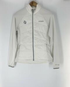 Columbia Mach 38 Hybrid Omni-Heat Quilted White Jacket Paw Logo Women's Sz Small