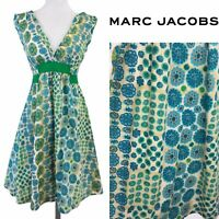 Marc Jacobs Designer Cotton Blue Green Beige Empire Line Summer Dress 12 UK 8 US