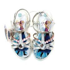 Disney Frozen Elsa & Anna Girls Toddler Silver Rhinestone Sandal Shoes