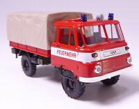 H0 BUSCH Robur LO 2002 Pritsche Plane Feuerwehr Bauchbinde Blaulicht DDR # 50245