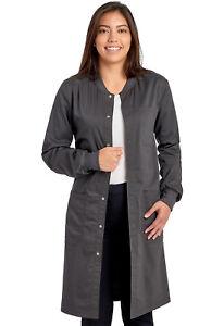 "Cherokee Workwear Scrubs Unisex 40"" Snap Front Lab Coat WW350AB PWT Pewter"