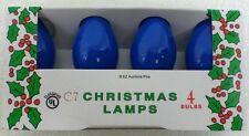 (4 Pack) of BLUE C-7 Light Bulbs 5 Watt Holiday Christmas Night Incandescent