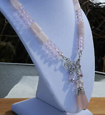 """19"""" Handmade Pink Agate and Crystal Necklace Crystal and Frosted Pink Pendant"""