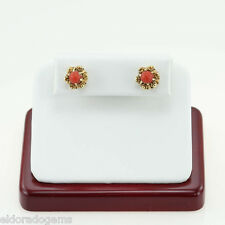 ANTIQUE FINE LADY'S CARNELIAN STUD EARRINGS POST AND PUSH BACK 18K YELLOW GOLD