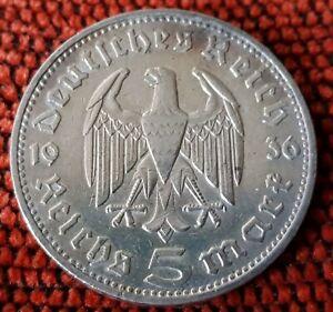 Germany Nazi 5 Reichsmark Hinderburg 1936 J .900 Silver Lot  311