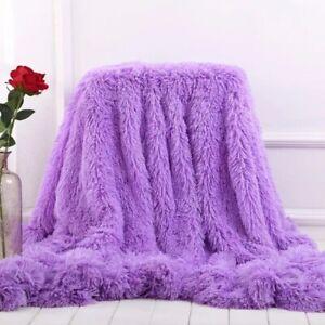 Super Soft Throw Blanket Reversible Luxury Long Shaggy Warm Fluffy FauxFur Sheet