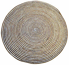 Round Jute Floor Rug - Natural Cotton Braided Flatweave Rug (200X200cm) White