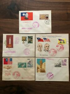 5 X CHINA TAIWAN OLD COVER FDC TAIPEI TAICHUNG 1958 !!