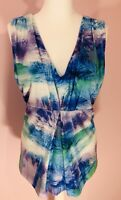 LAKELAND Tropical Palms Ladies Tie Dye Blouse Top Size 18, Palm Trees Holidays