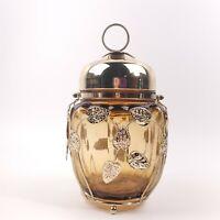 Amber Glass Biscuit Jar Musical Lid Gold Metal Leaves Overlay Japan Vintage
