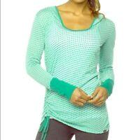PRANA Large Green Polka dot Ruched Tissue Weight Organic Top Vinyasa Hoodie