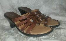 """Women's Bjorndal 'Willow"""" Brown Leather slip on open toe wedge mule Sandals 10 M"""