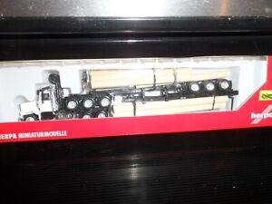 HERPA HO SCALE TRACTOR AND B-TRAIN DOUBLE TRI-AXEL LOG TRAILERS     N.I.B.