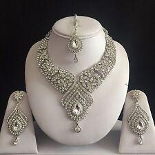 Indiano in argento chiaro bigiotteria collana orecchini Diamond Set da sposa nuovo