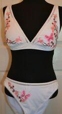 Floozie frostfrench bikini set size 14 top 16 bottoms white/pink BNWT