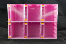 6 X Stackable Mini Display Case Pink Colour for Lego Minifigures Showcase