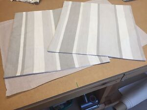TWO LAURA ASHLEY HANDMADE CUSHION COVERS IN AWNING STRIPE DOVE GREY