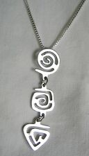 Vintage Estate 60s Silver Tribal Spirals Dangle Pendant Groovy Height Ashbury