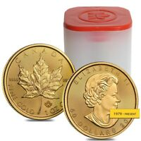Roll of 10 - 1 oz Canadian Gold Maple Leaf $50 Coin (Random Year)