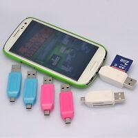 1X Micro USB 2.0 OTG Adapter SD-T-Flash Speicherkartenleser für Smartphone~