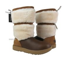 UGG Reykir Waterproof Chestnut Leather Fur Boots Womens Size 9 *NIB*