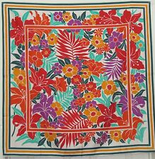 "TERRIART Orange, Purple, Multi Flowers, Stripes Thai SILK 35"" Sq Scarf-Vintage"