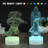 3D LED Night Light Illusion visuelle 16 Coloriage Touch Kids Chambre astronau UV