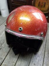 Vintage Arthur Fulmer Motorcycle Helmet AF20 Apple Red Sparkle Metalflake 1971