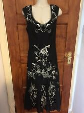 Laura Ashley Black Cotton Dress  With White Embroidery Size 10
