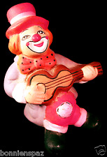 Vintage Ceramic Bisque Shelf Sitter Guitarist Clown, Musical Jester, Circus