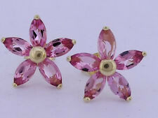 E041 Genuine Solid 9ct Yellow Gold NATURAL Pink Tourmaline Blossom Stud Earrings