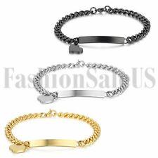 Women's Ladies Stainless Steel Charm Heart Dangle Bracelet Fashion Bangle Chain