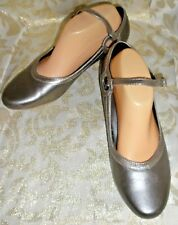 Dancing Dolls Pewter Leather Latin Salsa Tango Soft Sole Ballroom Shoes sz 9 M