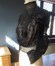 Antique Victorian Blouse Bodice Black lace Jet Beads Downton Abbey size X.Small