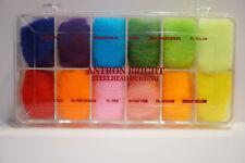 Wapsi Dispenser SUPER BRIGHT Steelhead Dubbing 12 Farben Box brillante Farben