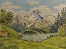 Carl Denstaedt-Vielist (XX.) Alpen-Gemälde um 1925: BERGSEE VOR EIGER UND MÖNCH