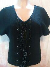 Vintage 70s Beldoch Popper Wool Blend Beaded Crochet Sweater Womens Black Large