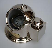 Vintage brass nautical gimbal binnacle boat oil lamp ship compass office decor